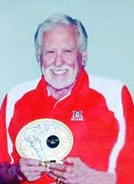 Bob Turner with Dayton-Miami Valley Senior Oopympics Hall of Fame Plaque, 2009.